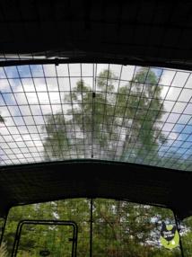 bâche transparente au milieu de deux bâches opaques pour une version 2x3x2