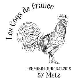 Des timbres coqs de France